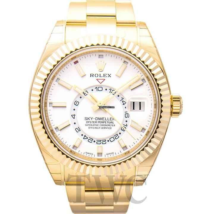 Rolex Sky-Dweller White 18k Yellow Gold 42 mm - 326938 45f8b4d4594