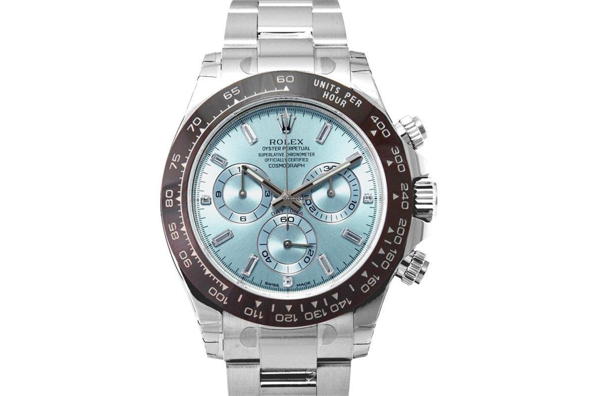 Rolex Cosmograph Daytona Platinum Automatic Blue Dial Diamonds Men's Watch - 116506