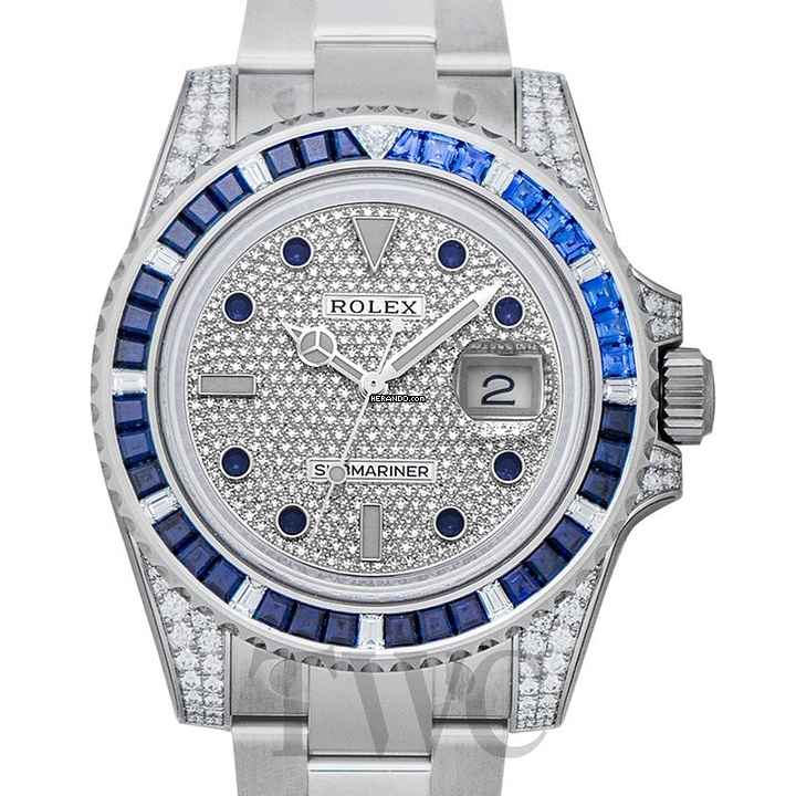 Rolex Submariner 18K white gold  diamond paved dial  40mm - 70faa97a7d3