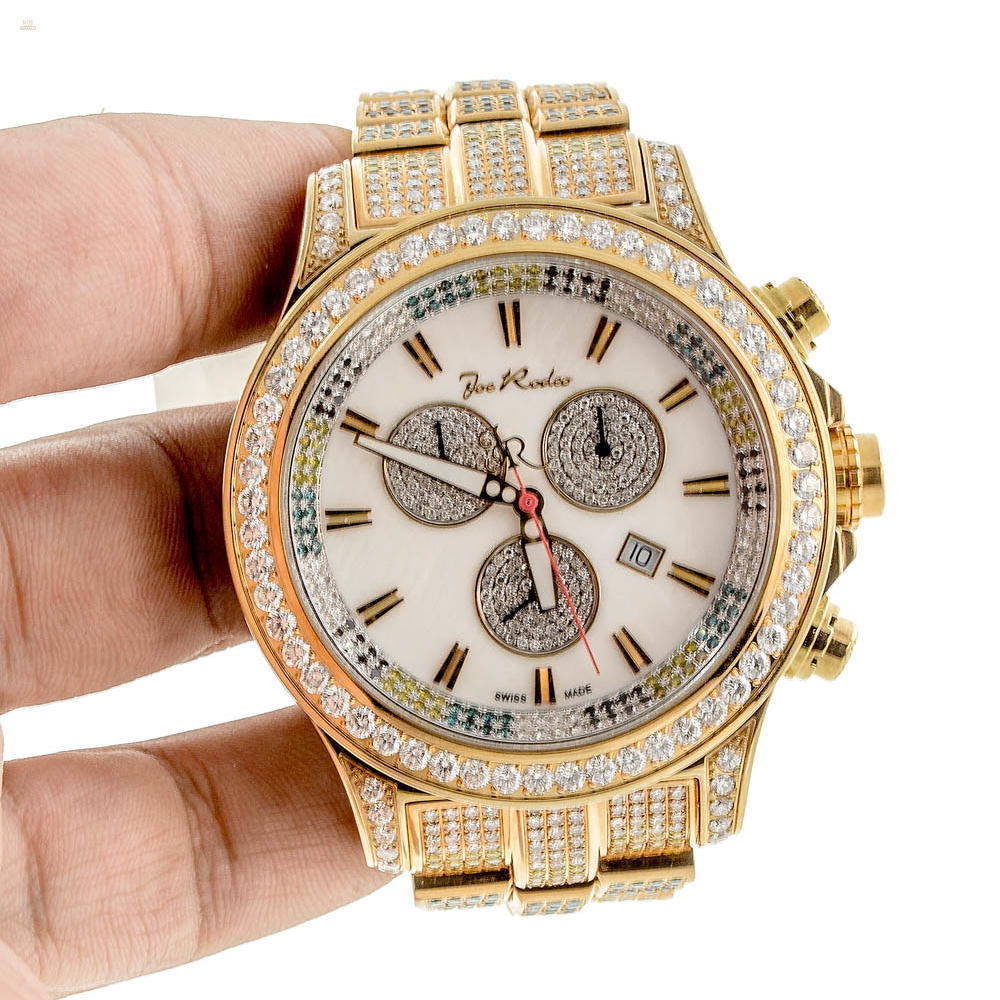 Herando Joe Rodeo Diamant Master Pilot Gold Weiss Herren Uhr Jmp144c