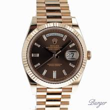 Rolex Day-Date 40mm Everose Gold Chocolate Dial with Baguette-cut Diamonds