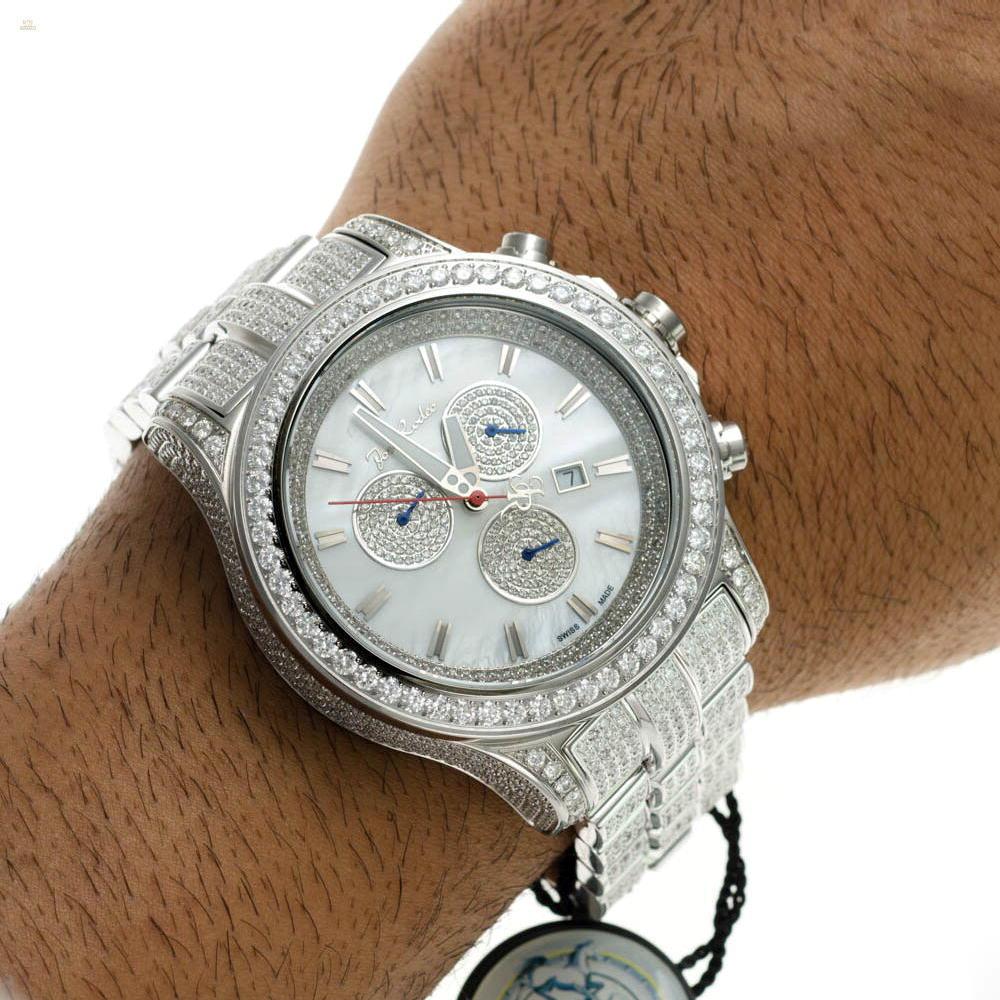 Herando Joe Rodeo Diamant Master Pilot Silber Weiss Herren Uhr Jmp11