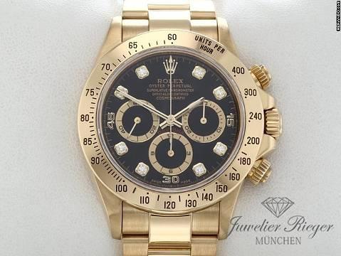Rolex Daytona 16528 Gelbgold 750 Diamanten Zenith Chronograph Automatik Gold