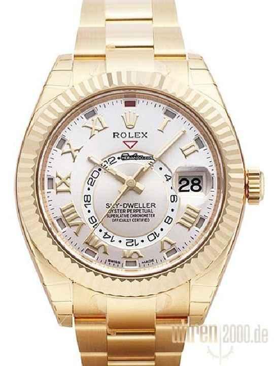 Rolex Sky-Dweller Gelbgold Ref. 326938 Silber Römisch 6a1f7dc5473
